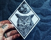 Night Owl Patch Full Moon Iron On Patch Horned Owl Fabric Iron-On Patch Patchgame Howling Wolf Patch Wolf and Full Moon Patch set