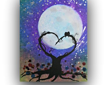 Whimsical - Birds on a Tree - Stretched Canvas