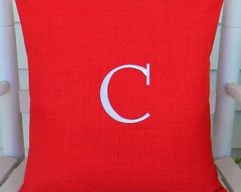 Monogrammed Initial Outdoor Pillow Cover in Hibiscus Red Orange  | Personalized | Alphabet | Embroidered | Initial | Wedding