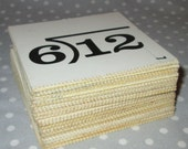 Square Vintage Flashcards Math Division Multiplication - Lot of 70+ cards All to GO - 3.5 inches