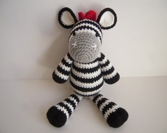 Crocheted Stuffed Handmade Amigurumi Black and White Striped Zebra