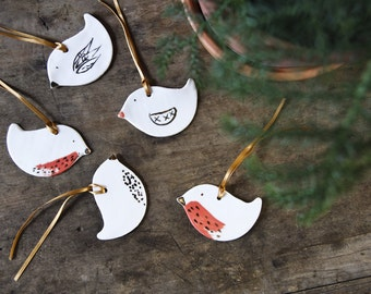 porcelain christmas ornaments, robin decorations, white gold red, handmade tree ornaments, bird animal Christmas decos