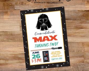 Star Wars birthday invitation theme gender neutral birthday coed darth vader lightsaber sprinkle couples twins 293
