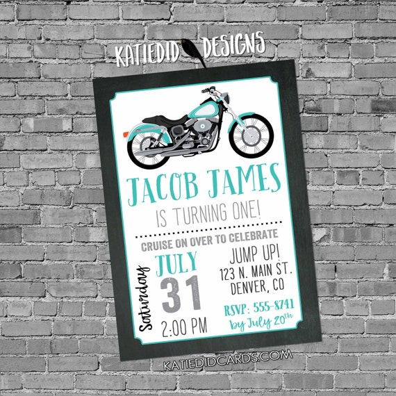 Motorcycle birthday invitation baby boy couples diaper man shower shower adult bash 30th 40th 50th 60th birthday party retirement 299