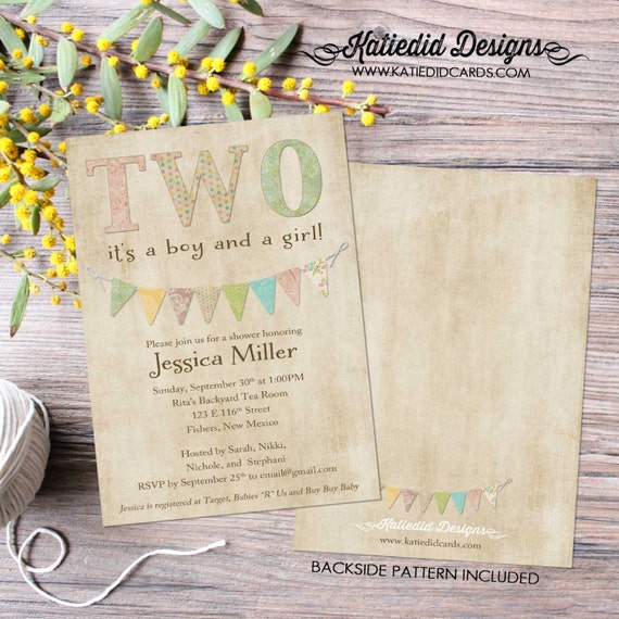 twin baby shower invitation two are better than one twins coed sip and see baby sprinkle birthday diaper (item 151) shabby chic invitations