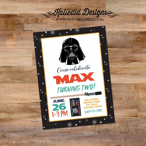 star wars birthday invitation little boy 1st birthday darth vader light saber adults only birthday boy oh boy co-ed baby 293 Katiedid Cards