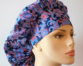 Scrub Hats Paisley Swirls Red and Blue Bouffant Medical Scrub Hat - Patriotic