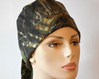 Scrub Hats Pixie Tie Back -CAMO  Mosey Oak Forest All Over Chemo Hat
