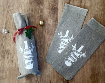 Bottle bag, wine bag, linen bag, hostess gift, gift bag, occasion, wine lover, christmas, gift for a friend, quote, good friends