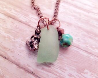 Mermaid Necklace with Aqua Scottish Sea Glass, Beach Jewelry, Copper Charm