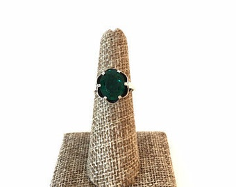 70's Vintage Sarah Coventry Sterling Silver Green Cubic Zirconia Flower Ring