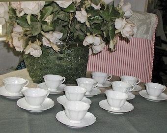 White VA Vista Alegre of Portugal Scalloped Porcelain Demitasse Set - 11 Cups/12 Saucers - Teapot, Sugar & Creamer in Separate Listing