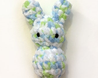 Little Bunny Floof - Super Soft & Cuddly Crochet Plushie Stuffed Toy Animal - 7.5 inch Plush Rabbit Childrens Toy, Baby Blue, White, Green
