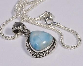 Larimar Pendant Sterling Silver Jewelry Natural LarimarJewelry Handmade Turquoise jewelry