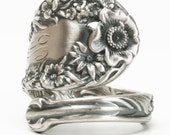 Silver Floral Ring, Spoon Ring Sterling Silver, Wild Flower Ring, Engraved W, Adjustable Ring Size, Gift for Her, Dominick & Haff (5931)