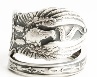 Kentucky Ring, Spoon Ring Sterling Silver, Kentucky State Jewelry, Spoon Jewelry, Eagle Ring, Patriotic Gift, Adjustable Ring Size (6308)