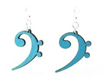 Bass Clef Music Note - Laser Cut Wood Earrings