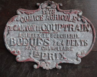 Vintage French agricultural farming beef cattle cow livestock winner red metal prize trophy plaque agriculture farm 1978 / English Shop