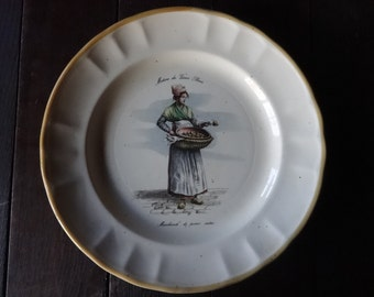 Vintage French Jobs Of Old Paris Trader Of Boiled Pears lunch dinner plate circa 1960's / English Shop