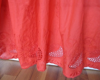 Coral red bed skirt - eyelet lace cotton Dust drop ruffle - QUEEN KING Bed skirt embroidered - shabby chic bedding-romantic -custom valance