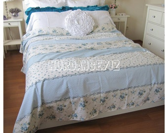 Blue floral Bedding -floral duvet cover doona cover college dorm Twin XL FULL Queen King size romantic shabby cottage chic beach bedding