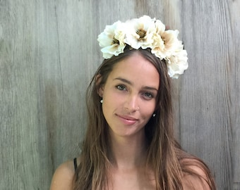 Ivory, Flower Crown, Day of the Dead, Headpiece, Sugar Skull, Costume, Floral Crown, Dia de los Muertos, Bridal Flower Crown,