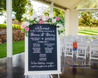 Wedding Chalkboard Calligraphy Program - DIY - Printable