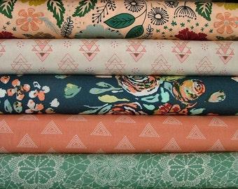Fleet & Flourish Fat Quarter Bundle of 5 by Maureen Cracknell for Art Gallery Fabrics Studio