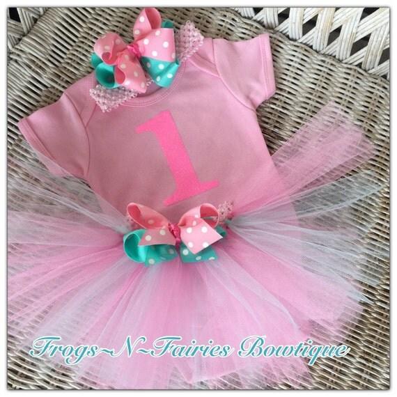Pink & Mint 1st Birthday Tutu Set