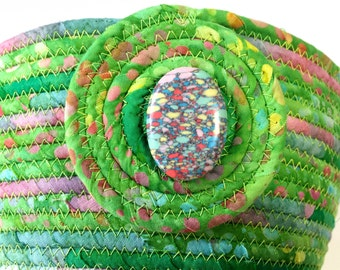 Large Hand Coiled Rope Basket - Clothesline Bowl - Green with Pink Organizer - Quilted Batik Fiber Art - Holiday Decor  Handmade Fabric Bowl