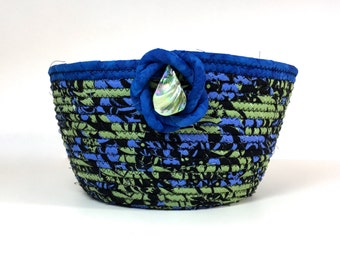 Coiled Rope Organizer  Extra Large Clothesline Basket  Blue Green Black Fiber Art  Handmade Fabric Decor   Sally Manke  Home Decor Catch All