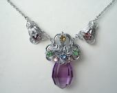 Art Deco Pendant Necklace Amethyst Glass Rhinestone   20's 30's