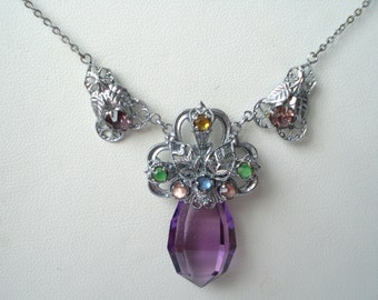 Art Deco Pendant Necklace Amethyst Glass Rhinestone   20's 30's