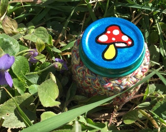 SALE! Little Mushroom Recycled Glass Stash Jar, Hand Wrapped, Hand Painted, small, medicine, hippie, crochet, boho,OOAK