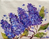 Lilacs flowers original floral painting on canvas 8 x 10""
