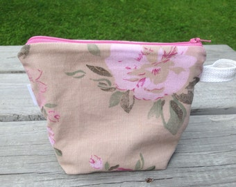 Repurposed Cosmetic Bag or Art Supply Bag Pink Floral with Khaki Lining and Pocket, OOAK