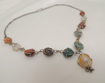Vintage Wire-Wrapped Stone Necklace
