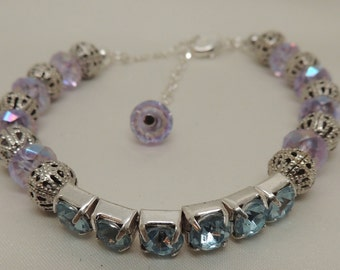 Semi-Vintage Blue and Silver Crystal Bracelet