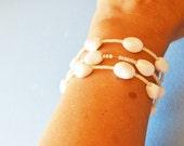 White Bracelet, Wedding, Large Vintage Beads,  Fashion Statement, Hand Made in the U S A, HALF OFF Sale, Item No. De088