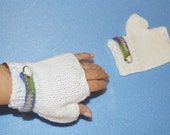 White  Fingerless Gloves, Kniteed Romantic, Woman, Hand Made in the USA