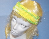 Yellow/Green Head Band, 100% Cotton, Knitted, Adjustabel, Made in the U S A