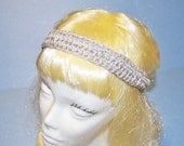 Silver/Metallic Head Band, Crochet, Vintage Inspired, Hand Made in the U S A