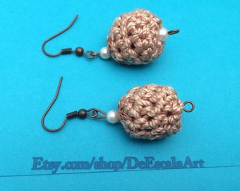 Brown Crochet Earrings, Cotton, Hand Made, Copper Post, faux pearls Vintage Inspired, Item No. D076