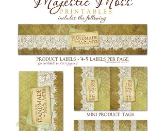Majestice Moss Tags for Crochet, Knit, Handmade Items