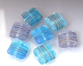 Square glass bead set Pillow beads Lampwork blue bead Flat bead set Aqua bead set Blue beads Blue lampwork Cocoon beads Anne Londez sra OOAK