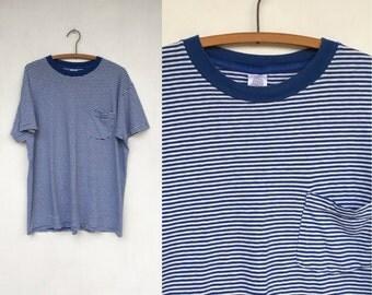 Vintage 90s Blue & White Striped POCKET Distressed Polo T Shirt L