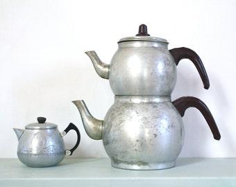Vintage Aluminium Double Decker Teapot