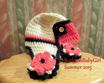 NEW - Buggs Infant Aviator Hat w/ Flower Accent on Ear Flap in Navy, Ivory, and Coral