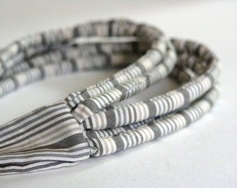 Minimalist necklace, textile necklace grey, layered necklace, statement necklace, gift for her - Handmade textile jewelry OOAK ready to ship