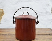 RESERVED  for S French Berry Pail Deep Reddish Brown Enamel canister